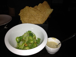 Guacamole with jalapeno and pistachios served with masa crisps