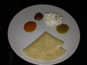 Tortilla with smoked ricotta and 3 salsas