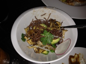 Hen of the woods mushroom with black bean vermicelli
