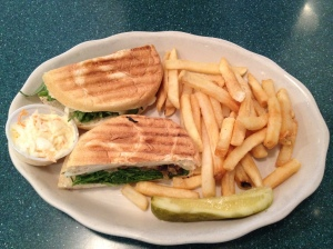 Veggie Panini with a side of fries
