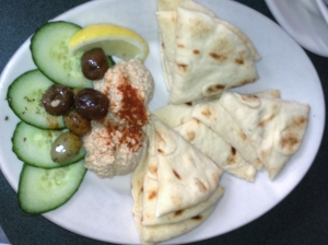 Hummus with Pita Bread at Redhook Brewery