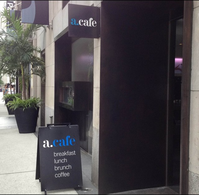 a.cafe from the sidewalk in midtown NYC (just off 5th Avenue)