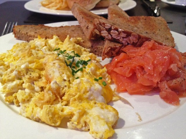 Scrambles eggs with smoked salmon and whole-wheat buttered toast at a.cafe in midtown NYC (just off 5th Ave)