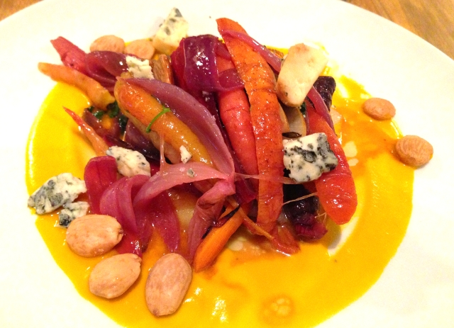 Roasted Carrot & Asian Pear Salad with blue cheese and marcona almonds at Back Forty West in NYC