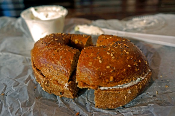 Whole-wheat everything bagel (toasted) with Scallion Tofu Spread at Bagel Cafe, NYC