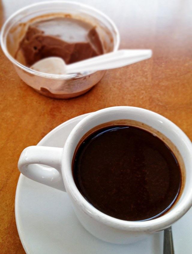 A tiny cup (3 oz) of Sipping warm chocolate (vegan), at Ah Cacao Chocolate Cafe in Cancun, Mexico