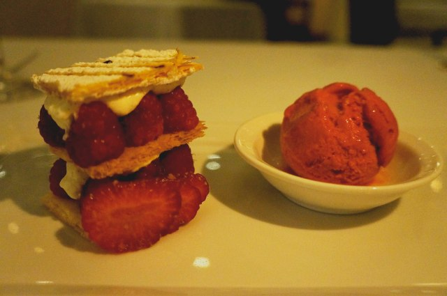"""Les Milles Feuilles"" - 3 layers of pastry with strawberries and raspberries served with a fresh raspberry sorbet at Le Basilic (Mediterranean) restaurant in Cancun, Mexico"