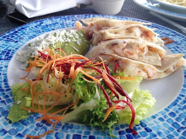 Shrimp quesadilla at Isla Contoy, Cancun,Mexico