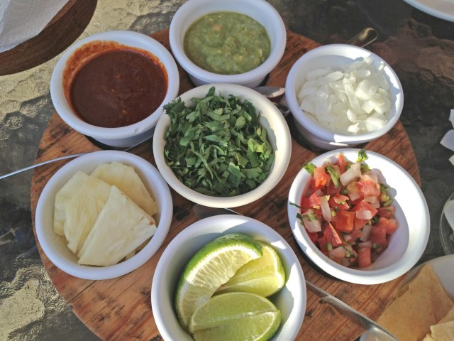 Taco Toppings and sauces at Taco Grill in La Isla Shopping Mall, Cancun, Mexico