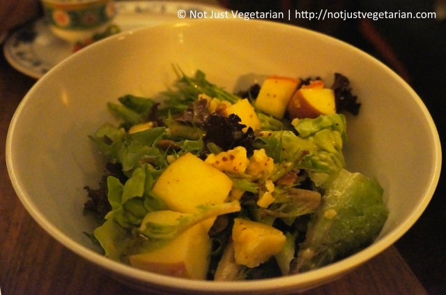 Apple salad with cheddar, pumpkin seeds, and mustard vinaigrette in Fatty 'Cue in the West Village in NYC
