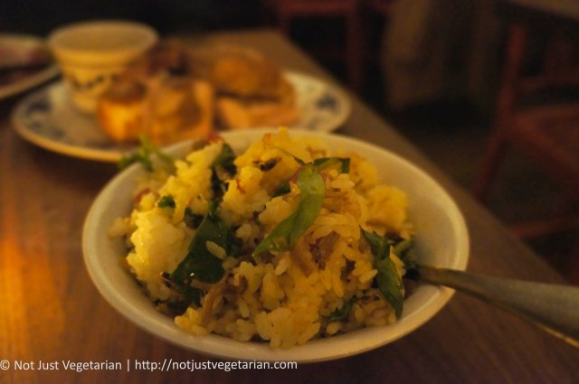 Nasi Ulam (Thai rice salad) with fried anchovies at Fatty 'Cue West Village in NYC