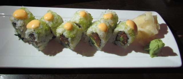 The Angry Zengo roll - with spicy yellowtail tuna, avocado, cucumber, sesame, green onion, wasabi tobiko and chipotle rouille,