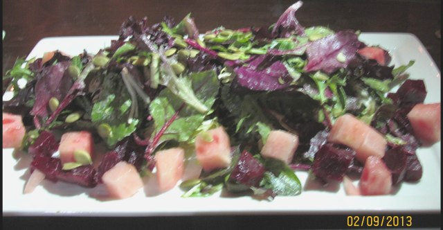 Baby Beet salad - with candied baby beets, watermelon, pumpkin seeds, and miso-cotija vinaigrette - at Zengo NYC