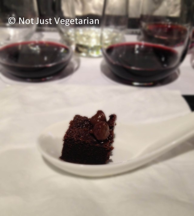 Chocolate cake / brownie served in the Wine Basics class at Puro Wine NYC