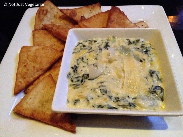 3 cheese spinach artichoke dip with pita chips at Brickyard Gastropub NYC