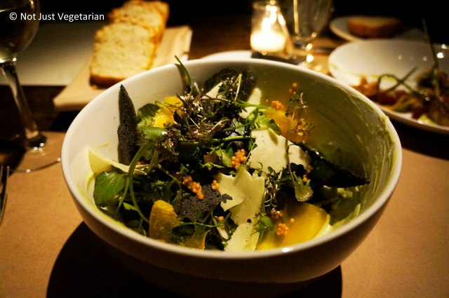 Watercress salad with yellow mustard seeds, pickled egg yolk and cheddar at Gwynnett St. NYC