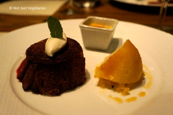 Dessert trio of Apple Charlotte, Rum Baba with pineapple, and Ginger Creme Brulee at Jeanne & Gaston NYC