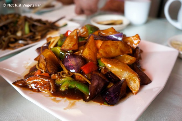 Triple delight vegetable (bell peppers, chinese eggplant, and potatoes) at Lao Dong Bei, Flushing NY