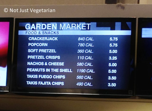 Vegetarian snacks at concessions stands in Madison Square Garden in NYC