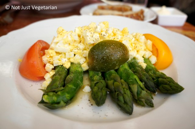 Asparagus and Egg Salad with tomatoes at Sant Ambroeus on Madison Avenue in NYC