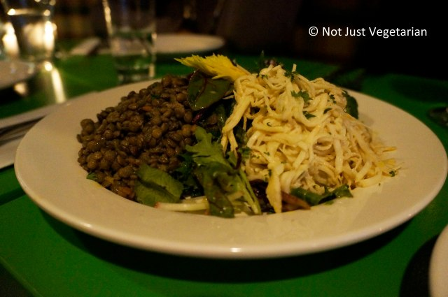 """Plat Froid"" - French Green lentils vinaigrette and celeri rave (grated celery root) remoulade at Table Verte NYC"