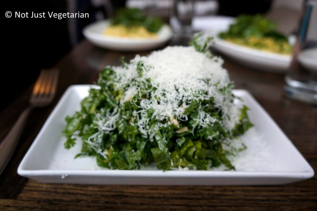 Russian kale salad with sunflower seeds tossed in a lemon vinaigrette and topped with thinly shredded pecorino cheese at Tremont NYC
