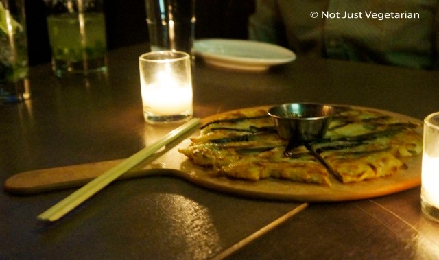 Buchoo Pa Jeon - garlic chive, and scallion pancake at Barn Joo NYC