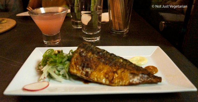 Godunguh Guhee - grilled mackerel with apple scallion salad, wasabi mayonnaise, and caramelized kimchi at Barn Joo NYC