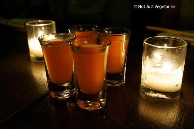 Complimentary shots served at Barn Joo NYC