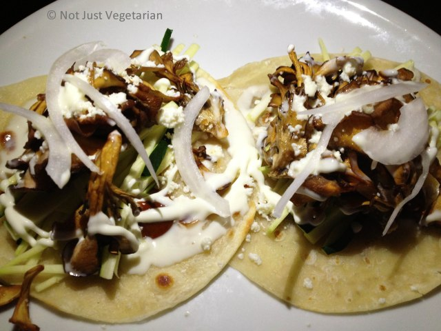 Maitake mushroom tacos with rajas (chiles) at Empellon Taqueria NYC