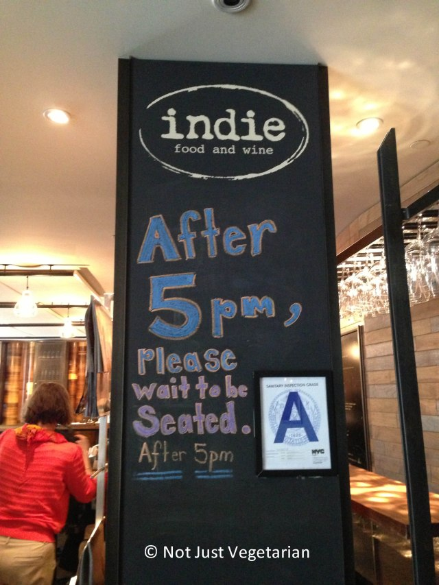 At the entrance of Indie Food and Wine, NYC