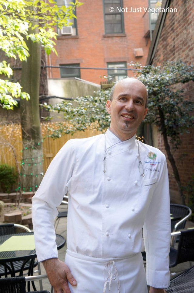 Chef Claude Godard in his restaurant's garden