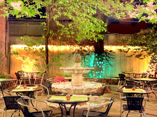 Outdoor garden at Jeanne and Gaston NYC