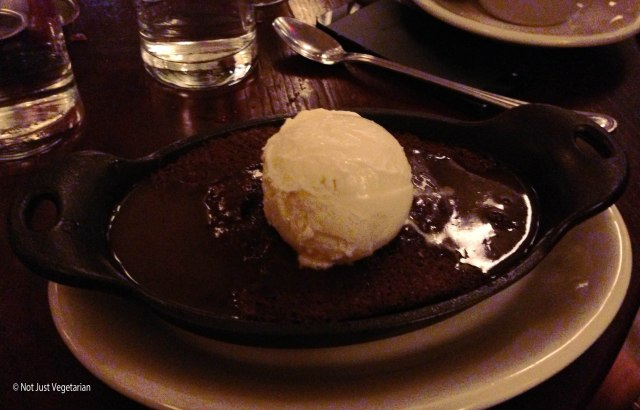 Sticky toffee pudding with vanilla ice cream at The Smith Restaurant and Bar near the Lincoln Center in NYC