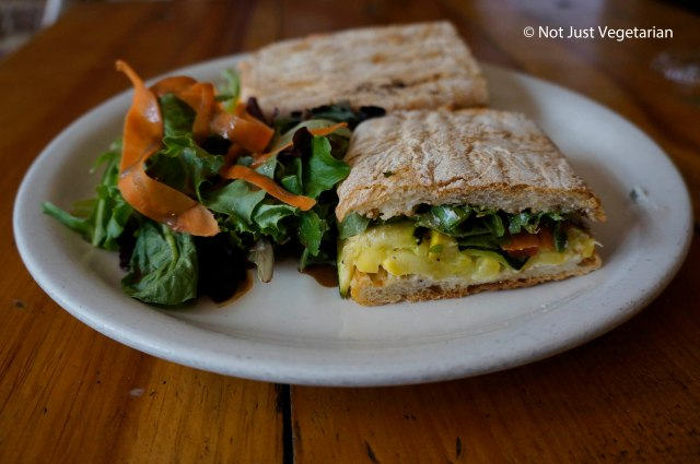 Roasted veggie panini at 'sNice Cafe in the West Village in NYC