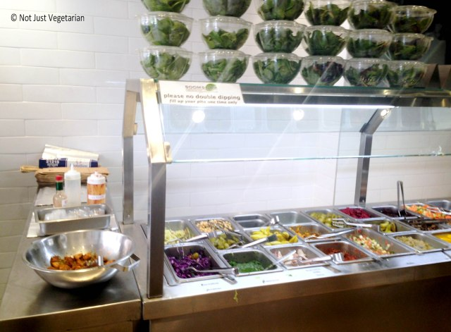 Vegetarian salad bar at SoomSoom55 in NYC
