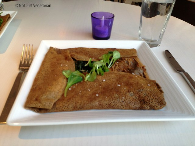 Buckwheat crepe with mushrooms, cheese, and spinach at Sugar and Plumm NYC