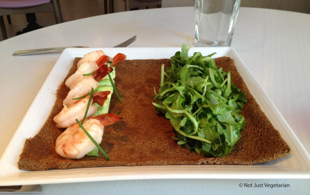 Buckwheat crepe with avocado, shrimp and arugula at Sugar and Plumm NYC