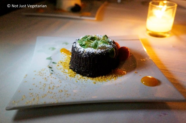 Molten chocolate cake at Thalassa NYC