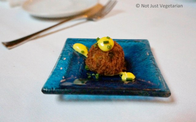 Amuse -bouche at Thalassa NYC - Cod fritters with aioli and chopped chives