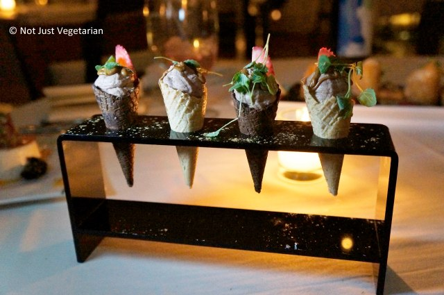 Chocolate mousse served in mini waffle cones at Thalassa NYC