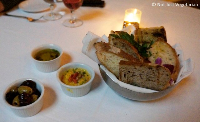 Bread with fava bean puree, Greek olive oil and Greek olives (green and black) at Thalassa NYC