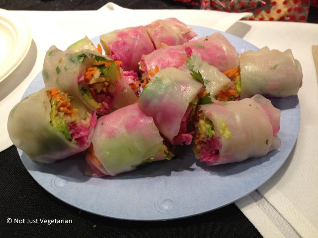 Spring Rolls (Pickled cabbage, carrots, avocado,cucumber, apple, cilantro and tempeh bacon  wrapped in rice paper) from Pure Food and Wine at The Seed  2013 in NYC