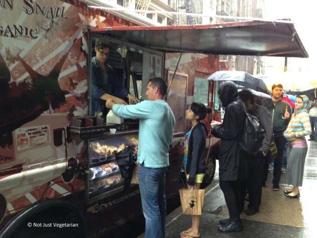 Line for the food from the (vegan, organic) Cinnamon Snail food truck right outside the venue of The Seed 2013 in NYC