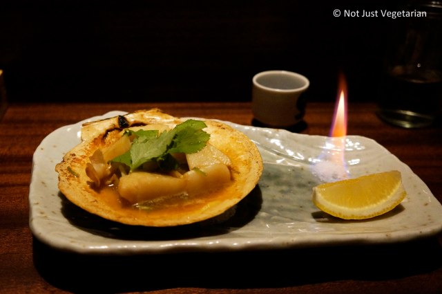 Grilled scallops with butter at Yopparai NYC