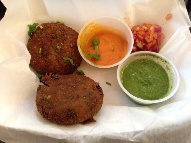 Spinach cutlets at Bombay Duck Co. in NYC (photo courtesy My Voice Over Gal)