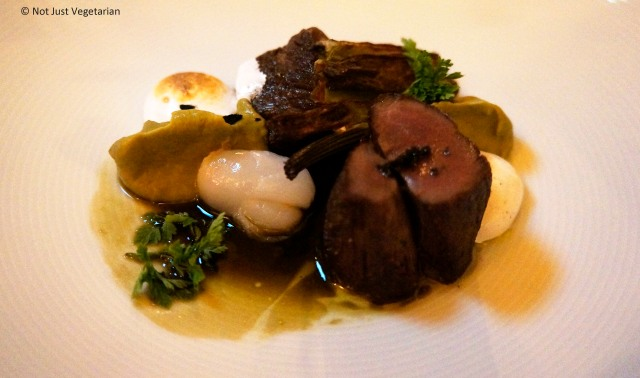 New Zealand Red Doe with flavors of gin, litchis, roasted fennel and fennel puree at Musket Room in NYC
