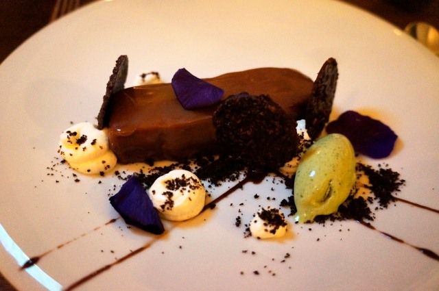 Chocolate Torte with black mint ice cream and mascarpone at Musket Room NYC