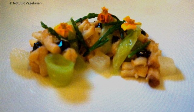 Cold smoked scallops with cucumbers, pears, and sea beans at Musket Room NYC