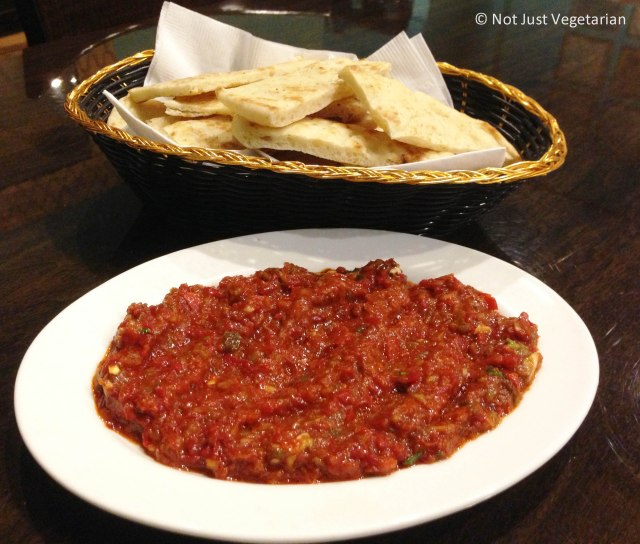 Spicy Vegetable spread and warm pita bread at Rumi Turkish Grill in Jersey City